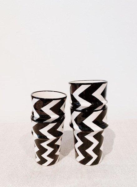 PRE-ORDER Mug - zigzag print  - black/white - S