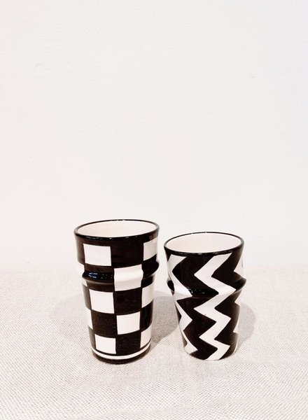 Mok - blokjes print - zwart/wit - S