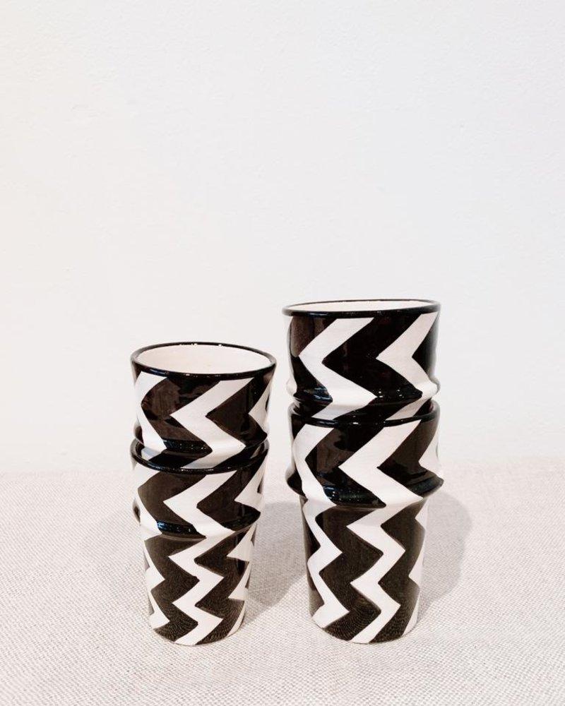Mok - zigzag print  - zwart/wit - M