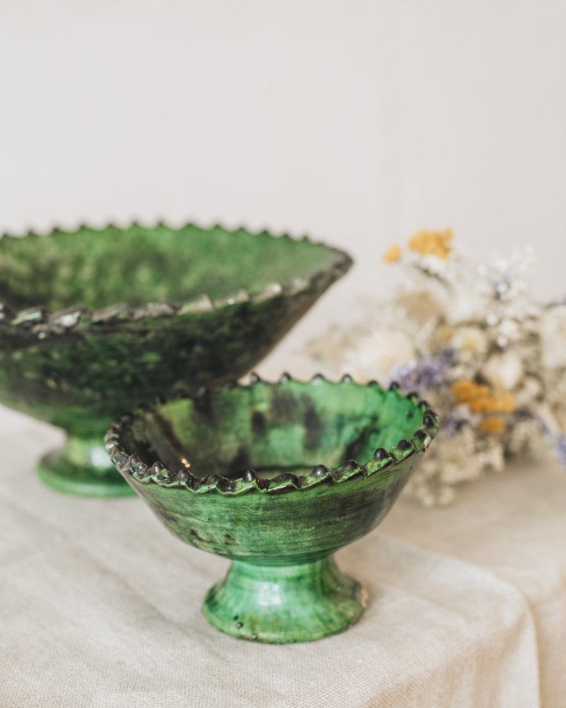 Tamegroute bowl on foot - green - S
