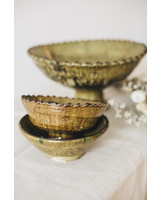 Tamegroute bowl on foot - olive green- S