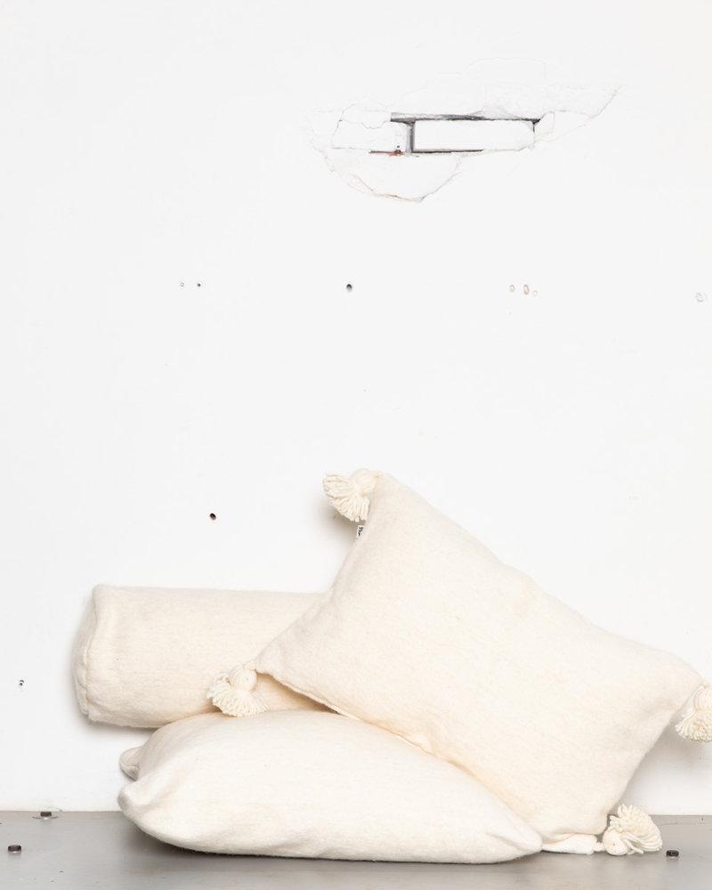 Handwoven pom pom pillow L