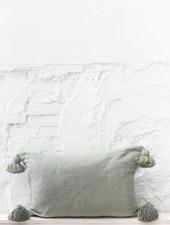 Pom pom  pillow green cotton - L
