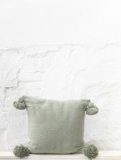 Pom pom  pillow green cotton - M
