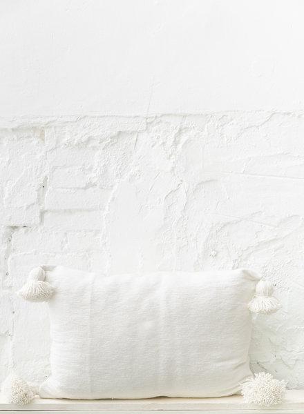 Pom pom  pillow white cotton - L