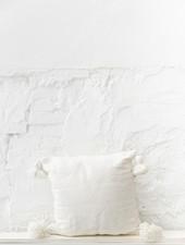 Pom pom  pillow white cotton - M
