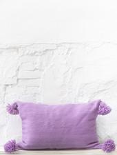 Lilac pompom pillow wool - L
