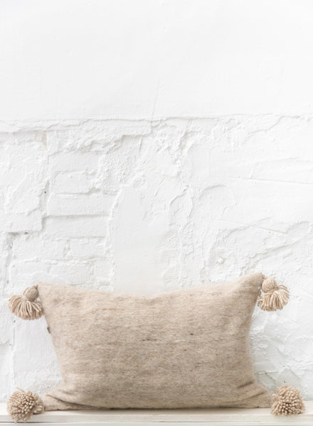 Pom pom  pillow beige wool - L