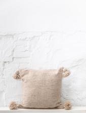 Handgeweven pompom kussen - wool M