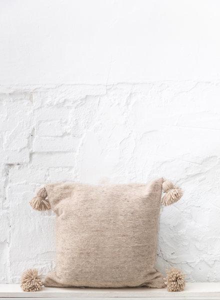 Handwoven pompom pillow - wool M