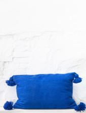 Pom pom pillow blue wool - L
