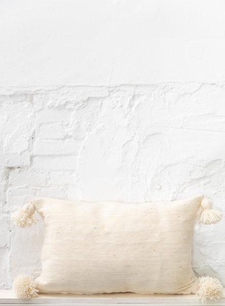 Handgeweven pompom kussen - wool L