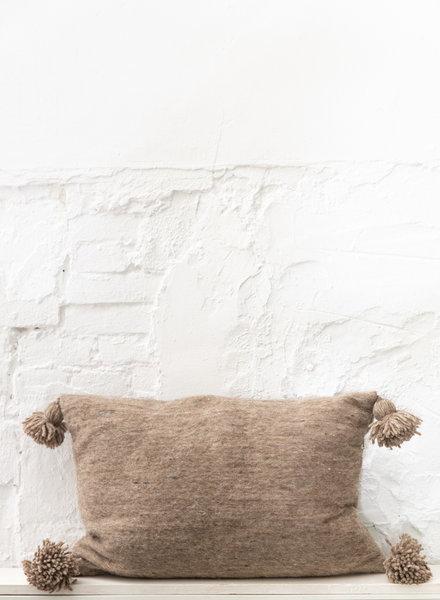 Handwoven pom pom pillow - wool L