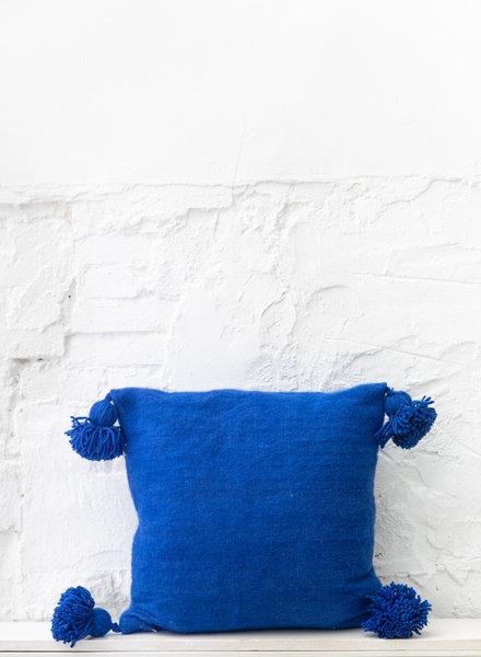 Blauw pompom kussen wol - M