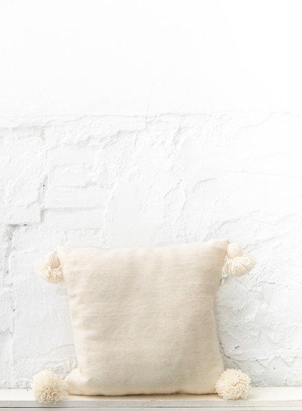 Handwoven pom pom pillow - wool M