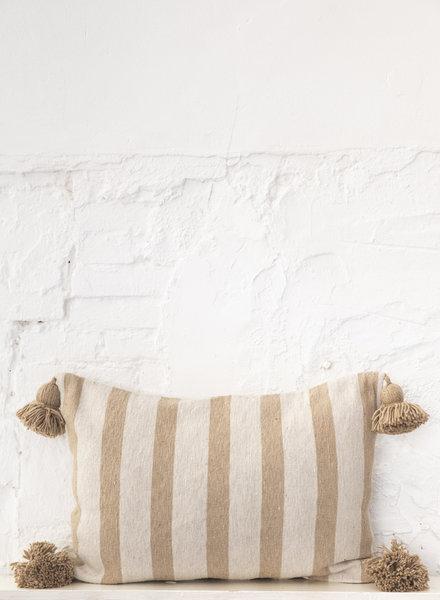 Cotton pompom pillow stripe beige camel