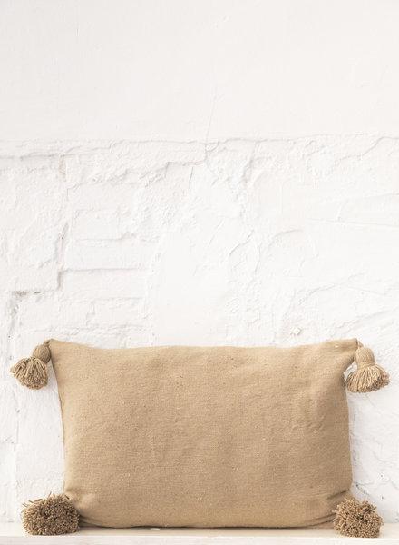 Cotton pompom pillow camel