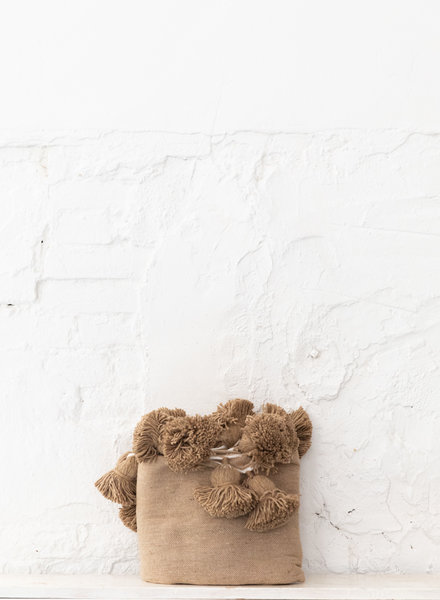 Berber cotton pompom blanket camel