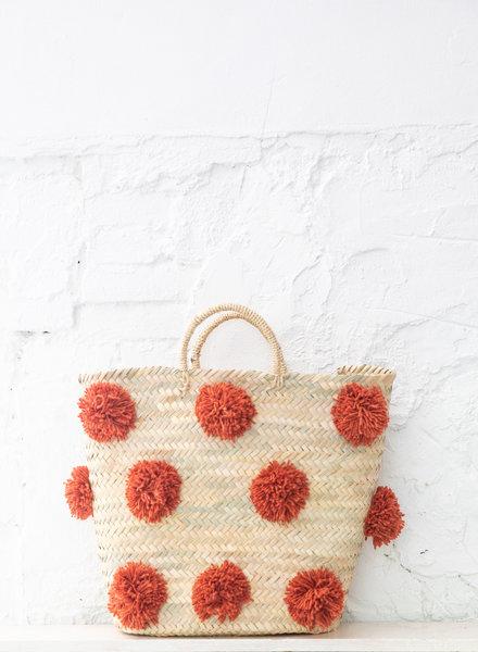 Pompom straw bag terra L