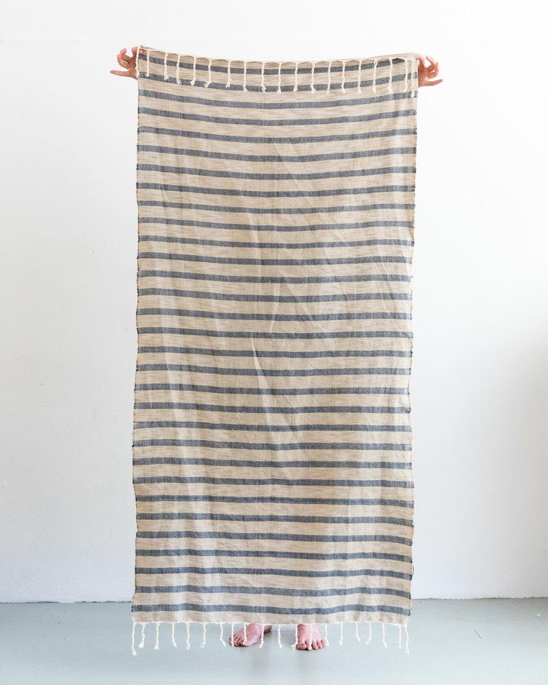 Hammam towel stripe navy sand (PRE-ORDER)