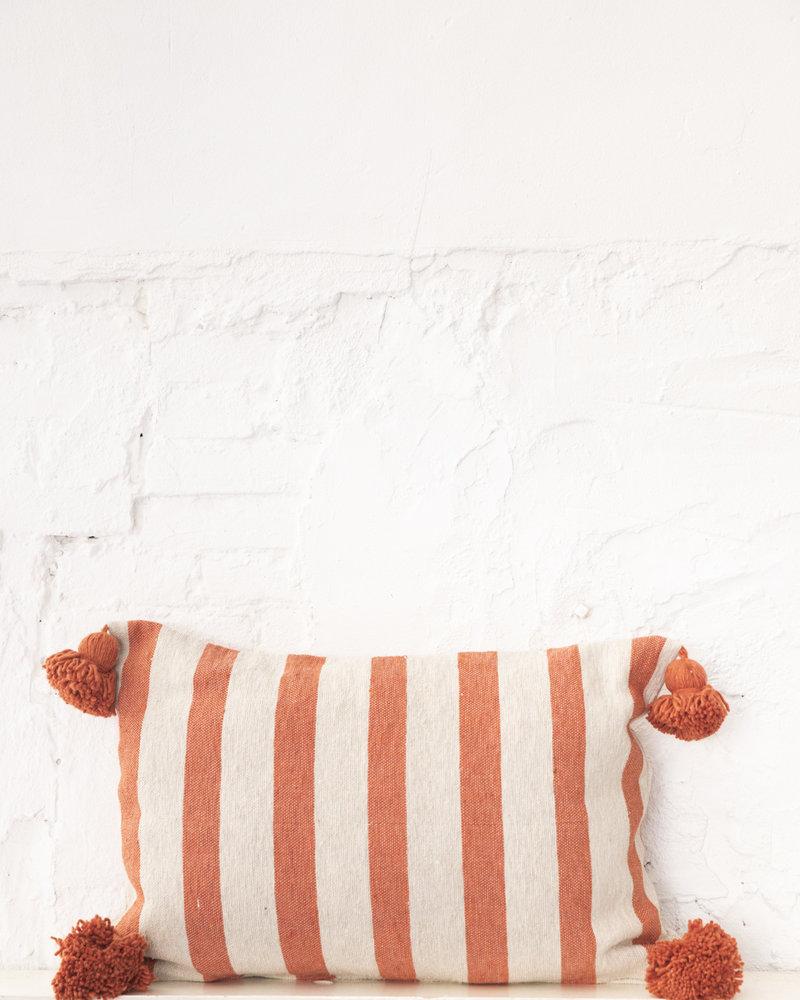 Cotton pompom pillow stripe beige terra