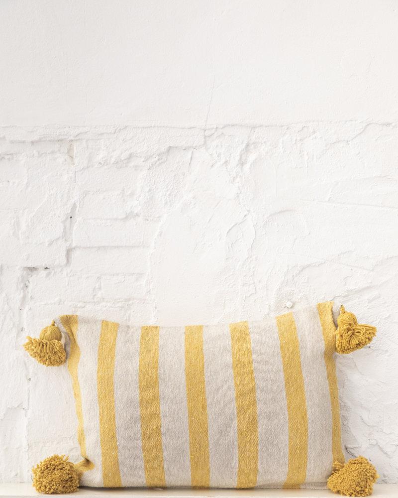 Cotton pompom pillow stripe beige yellow (PRE-ORDER)