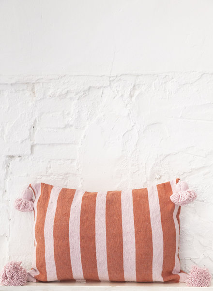 Cotton pompom pillow stripe terra soft pink