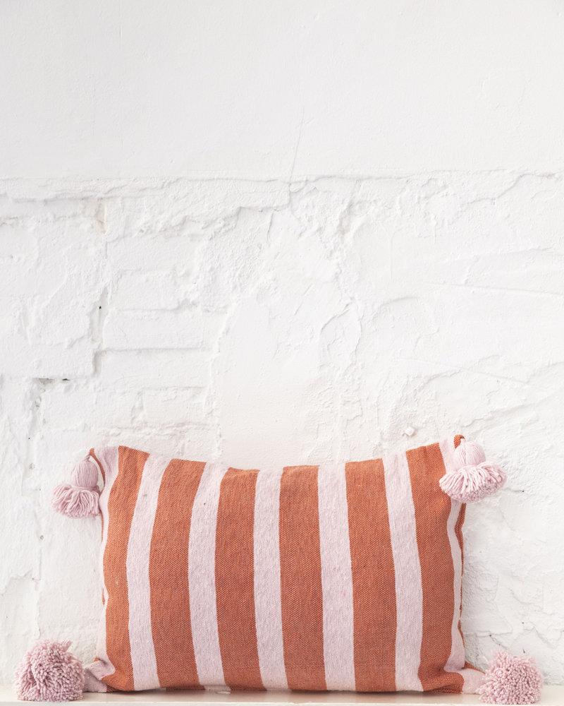 Cotton pompom pillow stripe terra soft pink (PRE-ORDER)