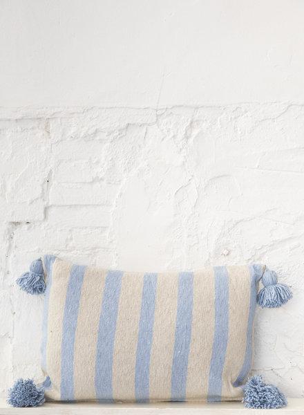 Katoen pompom kussen streep beige lichtblauw