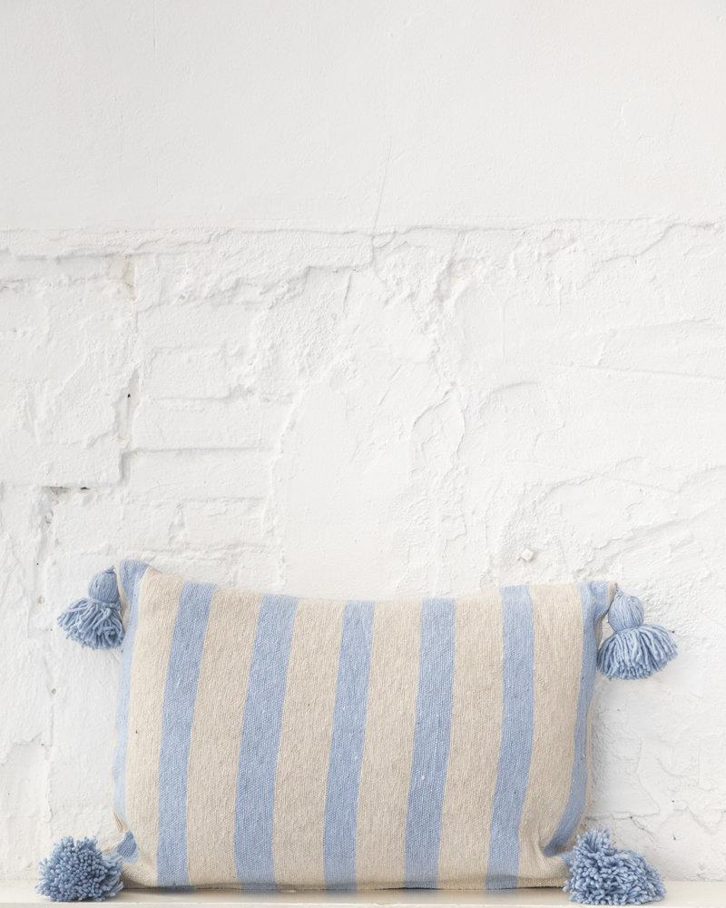 Cotton pompom pillow stripe beige lightblue