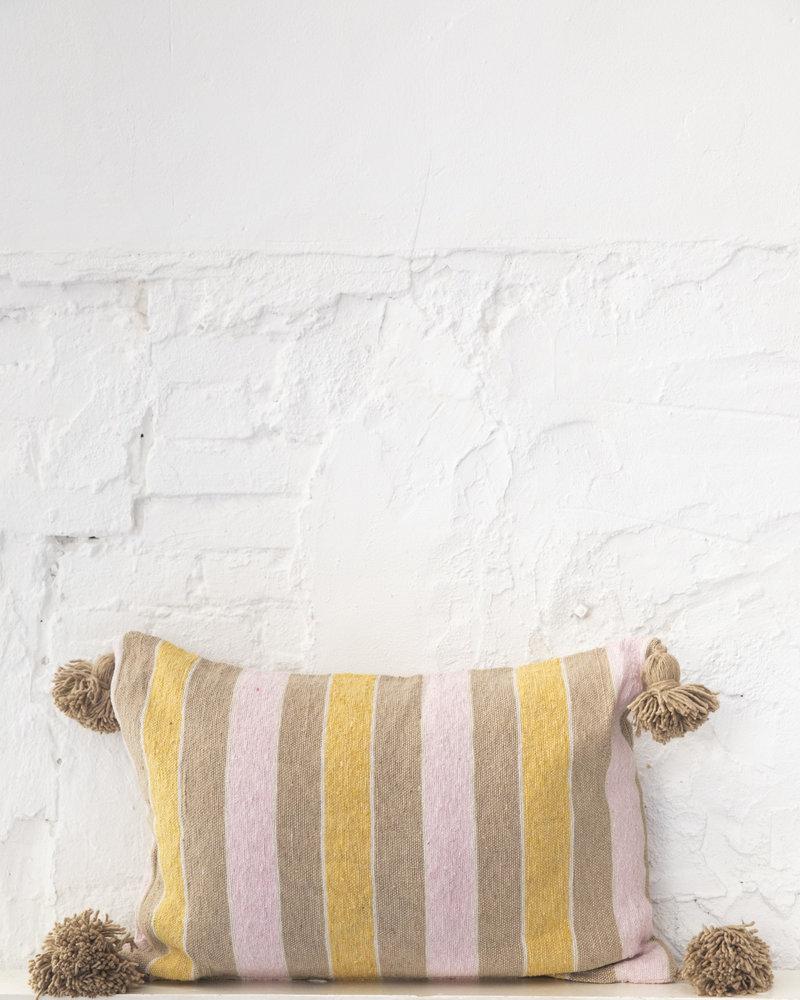 Cotton pompom pillow stripe multi color (PRE-ORDER)