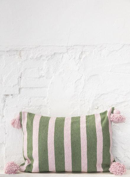 Cotton pompom pillow stripe green soft pink