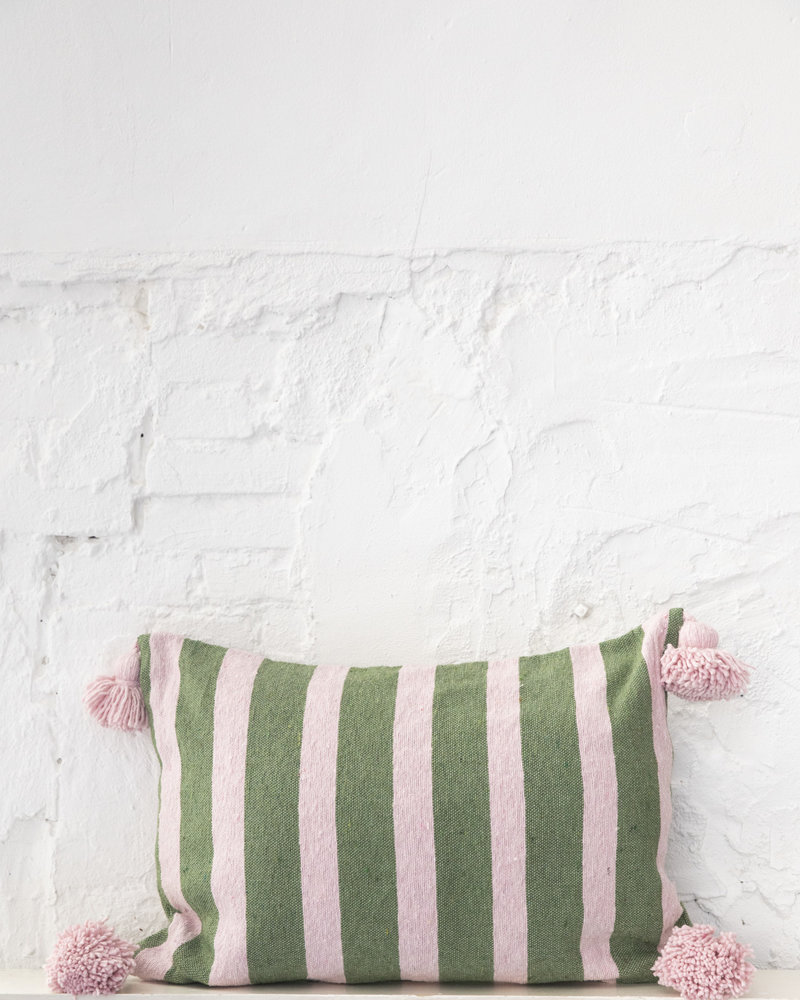 Katoen pompom kussen streep groen zachtroze (PRE-ORDER)