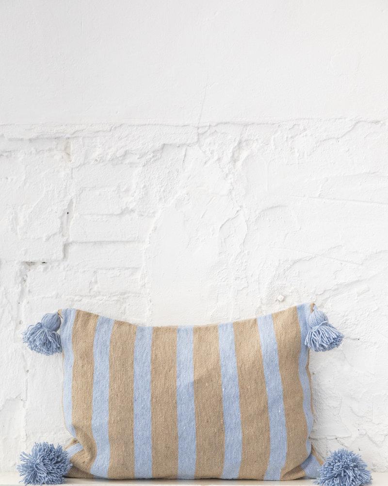 Cotton pompom pillow stripe camel lightblue (PRE-ORDER)