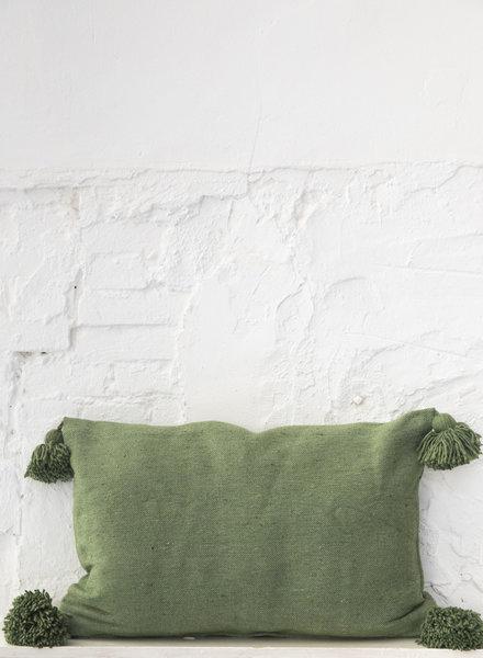 Katoen pompom kussen groen (PRE-ORDER)