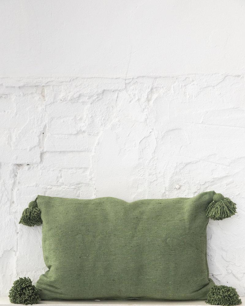 Cotton pompom pillow green