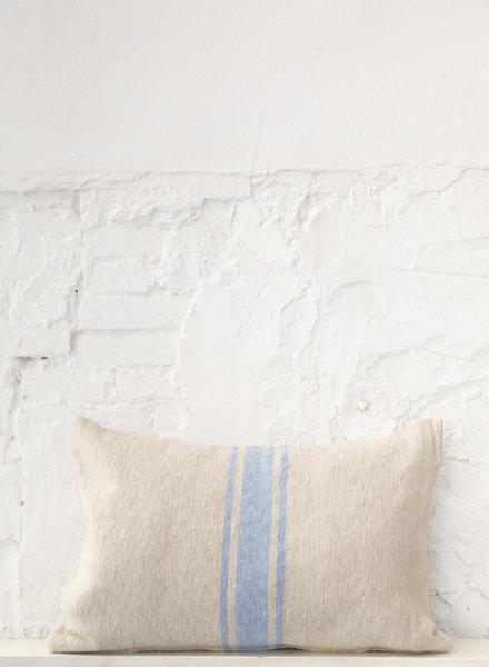 Cotton pillow stripe beige light blue (PRE-ORDER)