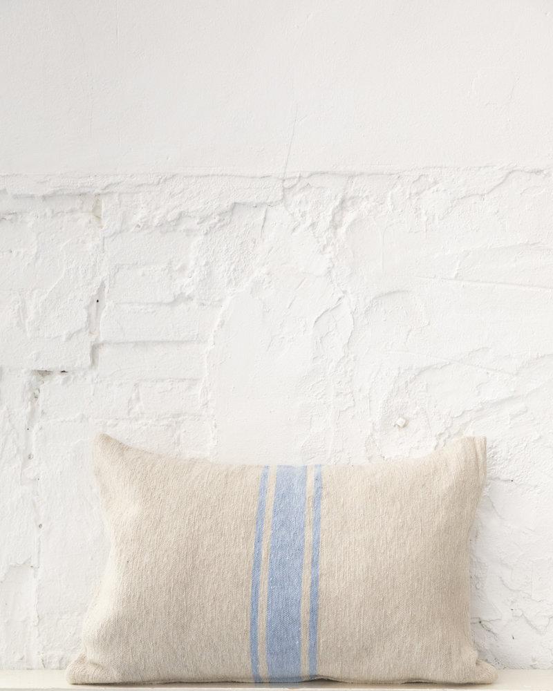 Katoen kussen streep beige lichtblauw (PRE-ORDER)