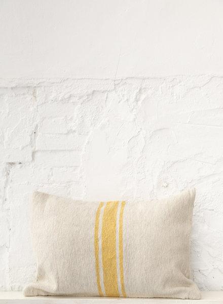 Cotton pillow stripe beige yellow