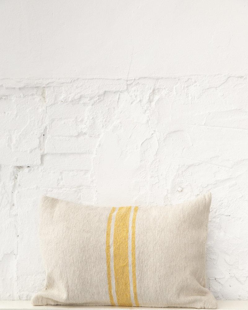 Katoen kussen streep beige geel (PRE-ORDER)