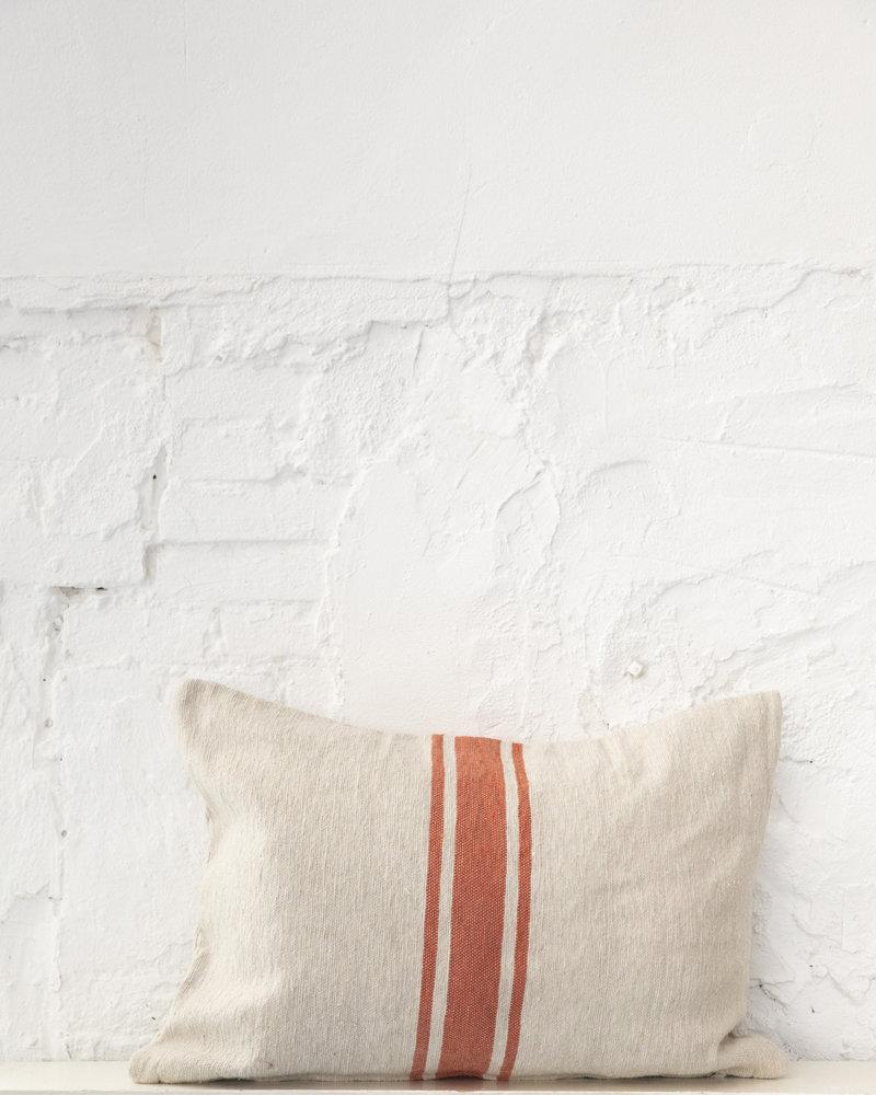 Cotton pillow stripe beige terra
