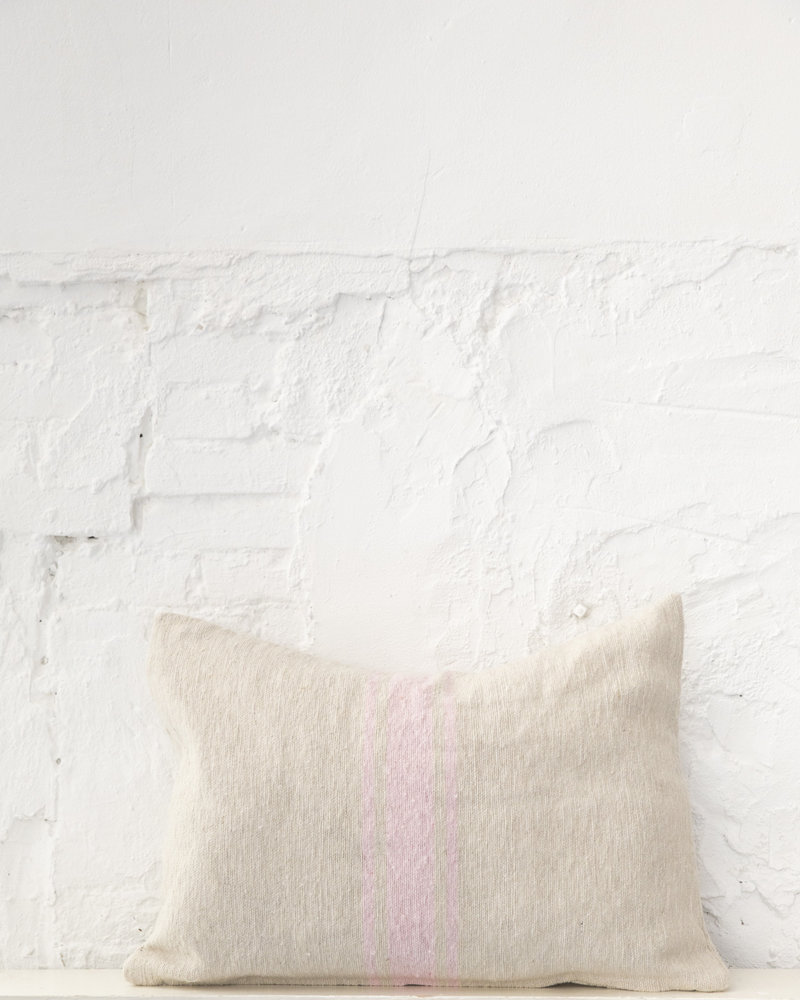 Cotton pillow stripe beige soft pink (PRE-ORDER)