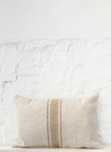 Cotton pillow stripe beige camel