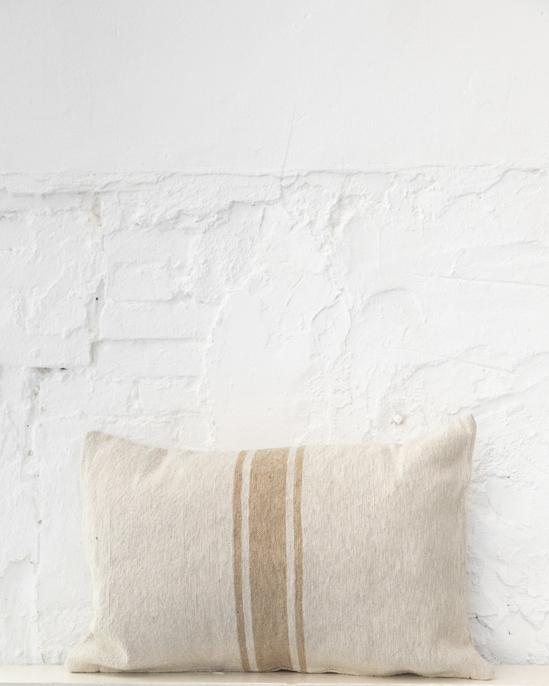 Cotton pillow stripe beige camel (PRE-ORDER)