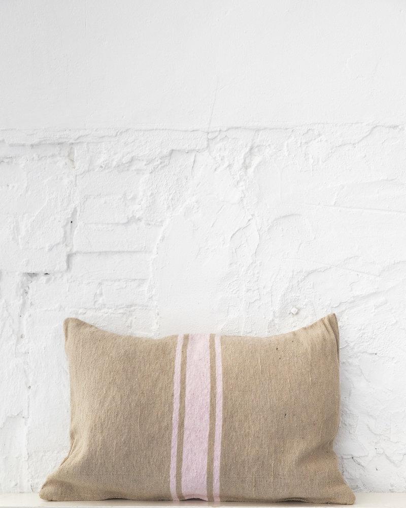 Cotton pillow stripe camel soft pink