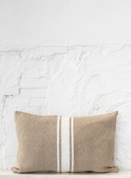 Cotton pillow stripe camel white