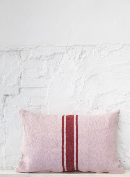 Cotton pillow stripe soft pink cherry