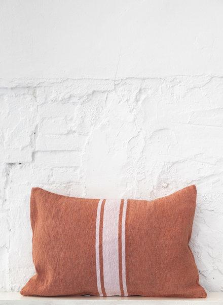 Cotton pillow stripe terra zachtroze