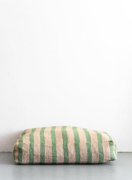 Floor pillow large stripe camel green