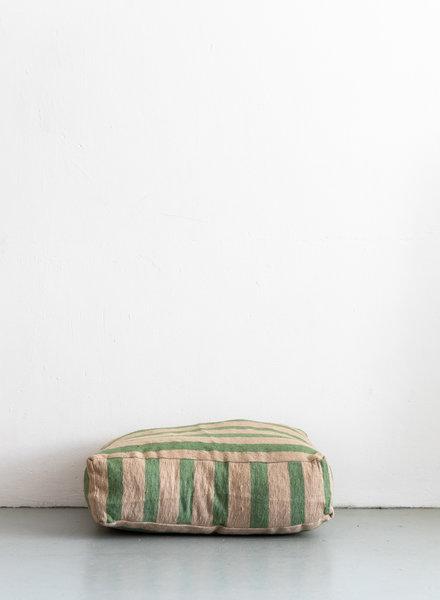 Floor pillow small stripe camel green